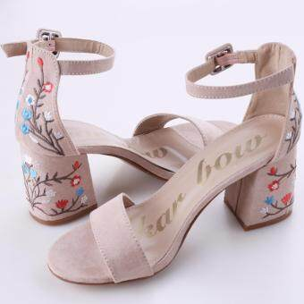 Harga HengSong New Milan Style Women High-heeled Toe Flower Embroidered Asian Women Sandals(Nude color)
