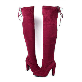 HengSong Women Fashion Solid High Heel Suede Knee Long Boots WineRed - 4