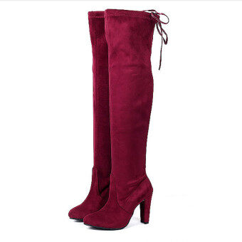 HengSong Women Fashion Solid High Heel Suede Knee Long Boots WineRed - 2