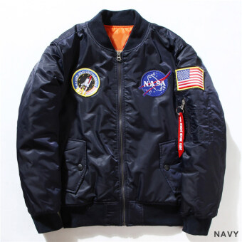Harga Hequ Freelee Nasa Flying Jacket Nylon Letter Man Varsity AmericanCollege Bomber Flight Jacket Navy