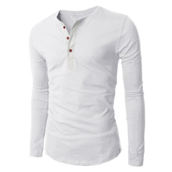 Hequ Mens 3 Button Long Sleeve T-shirt (White) | Lazada Malaysia