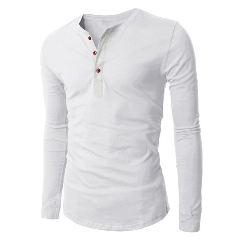 Hequ Mens 3 Button Long Sleeve T-shirt (White) | Lazada Malaysia