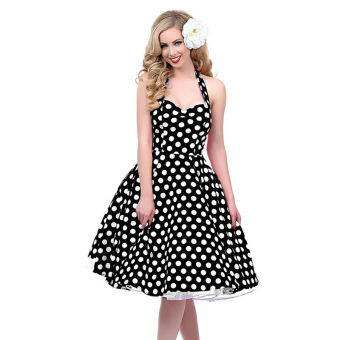 Hequ Retro Audrey Hepburn Dress Woman Vintage Dress 50s 60s BigSwing Polka Dot Backless Dress (Black) - Intl