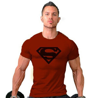 Hequ Superman Gym Singlets Bodybuilding Fitness T-shirt (Red) -