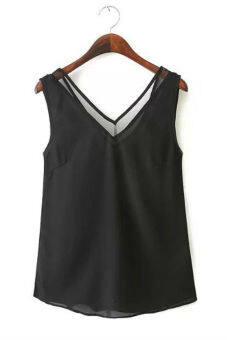 Hequ V-neck Stitching Gauze Halter Vest Chiffon Blouse (Black)