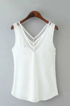 Hequ V-neck Stitching Gauze Halter Vest Chiffon Blouse (White)
