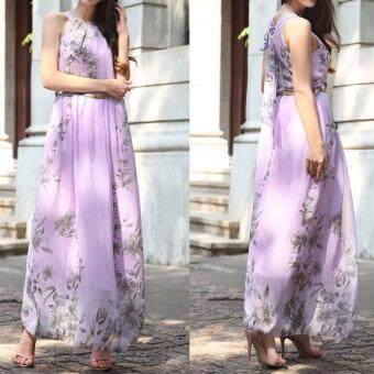 Hequ Women Summer Chiffon Floral Print Sleeveless Party DressesBeach Boho Dress With Belt Sundress Purple - 2