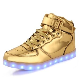 High Top USB Charging LED Shoes Flashing Fashion Sneakers For WomenMen Couples(Gold)