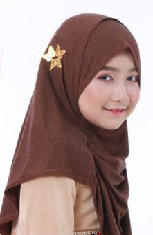 Hijab Fesyen Manja Instant Shawl 2 Loops Brown