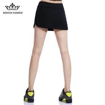Honour Fashion Women's Flat Tennis Skort Hugging Skirt Black hf04 - 2