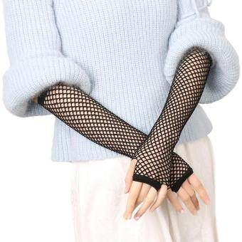 Harga Women Gloves Hollow Out Holes Sexy Punk Goth Lady Disco Dance Costume Fingerless Mesh Fishnet Black