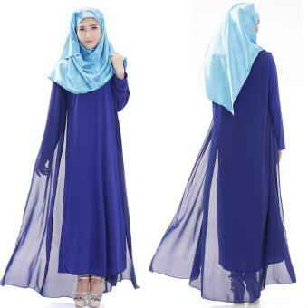 Harga Women Comfortable Muslimah Robes Muslimah Dresses Long-sleeved Cotton Gown Jubah Blue