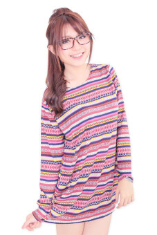 Harga LuvClo (Fit M~3XL) Retro Country Printed Long Sleeves Loose Top (Pink)