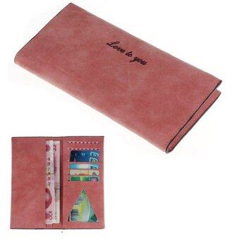 Harga Women PU Matte Leather Long Wallet (Red)