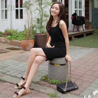 Harga LALANG Women Sexy Package Hip Dress Slim Slip Dress (Black)