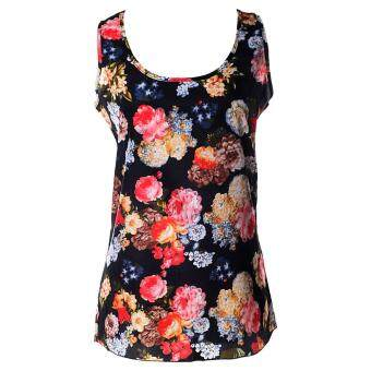 Harga Women Sleeveless Print Flower All-match Loose Chiffon Vest