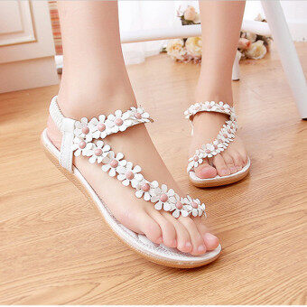 Harga LALANG Hot Sales Summer Women Sandals Bohemia Flower Casual Toepost Flats Shoes White