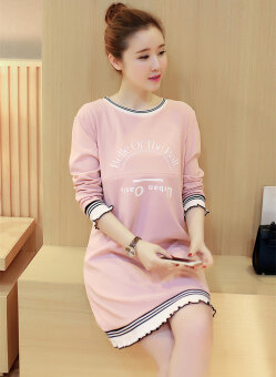 Harga Korean Style Pregnant Nursing Dresses Long Sleeve A-Line Maternity Dress HMDRESS022 Pink