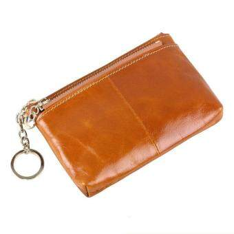 Harga BILLETERA Mini Bag Leather Coin Purse Cowhide Key Wallet Oil Wax Leather Money Holder Change Wallet