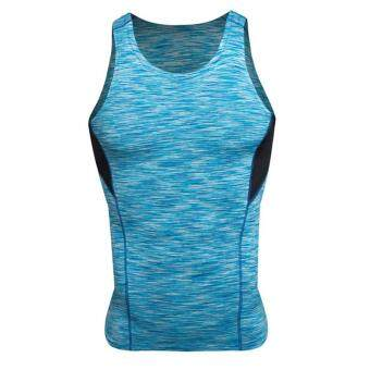 Harga Mens Tank Top Sleeveless Sports T-shirts Vest S-3XL Running Traning QuickDry Gym Bodybuilding Clothing Canotte Fitness Top MS0033 Blue