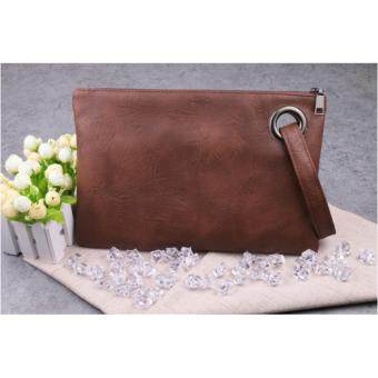 Harga NiCol Envelope Solid PU Leather Vintage Zipper Clutch Bag (Brown)