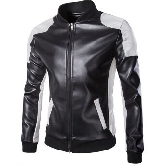 Harga 2016 Men Fashion Slim Leather Jacket Motorcycle Leather Zipper Coat Stitching Leather Clothing for Men (Black)