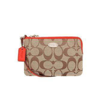 Harga Coach F64375 Signature Corner Zip Wristlet (Red)