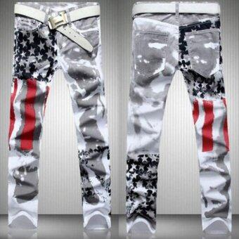 Harga New Fashion Men Stylish Straight Slim Fit Trousers Casual Jean Pants Jeans (Intl)