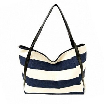 Harga Big Capacity Navy Wind Stripe Canvas Handbag/ Shoulder bag (Blue)