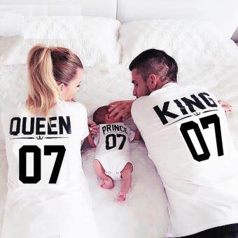 Harga Fashion print king07 couple paternity short sleeve T-shirt(PRINCE 07)