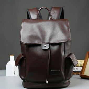 Harga Hot Sales Men's Leather Bag Fashionable Flap backpack Drew-string Travelling Bag(Coffee)