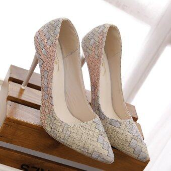 Harga LCFU764 Women Fashion Wedding High Heels Princess pointed Office Lady Pumps Shoes-10cm beige
