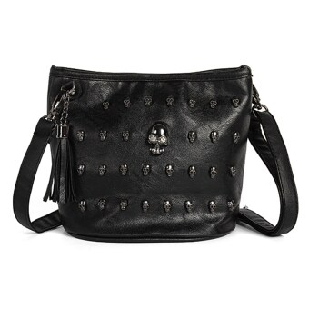 Harga Fashion Women Skull Punk Leather Goth Tassel Messenger Shoulder Bag Tote Handbag Black