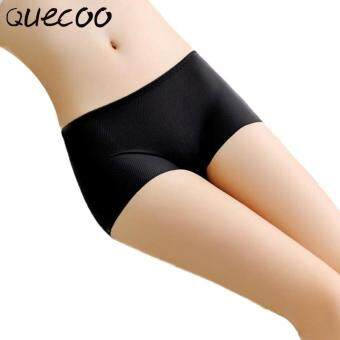 Harga QUECOO 10pcs/lots Comfortable high-grade one breathable antibacterial ice silk without trace flat panties women's underwear