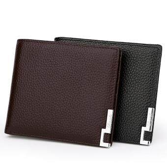 Harga 100% Genuine Soft Cow Leather Soft Bifold Casual Business Short Clutch Men Wallet(Horizontal)