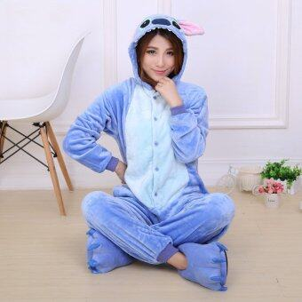Harga Yika Stitch Adult Unisex Pajamas Cosplay Costume Onesie Sleepwear S-XL (Blue)