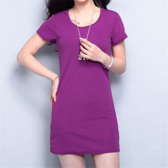 Harga Korean Fashion Summer Solid Color Short Sleeve Mini Dress HDS056 Purple - Intl