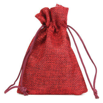 Harga Audew LOT 8x12CM Natural Jute Hessian Drawstring Pouch Burlap Wedding Favor Gift Bags Red NEW