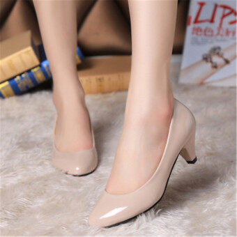 Harga LCFU764 Fahion Sexy Nude Color Heels Work Shoes Wedding Shoes-apricot