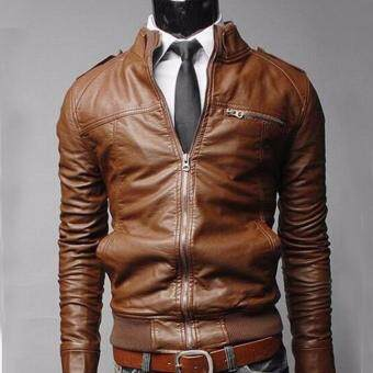 Harga Korean Men's Motorcycle Leather Leather Jacket Men's Leather Jacket for Men Brown