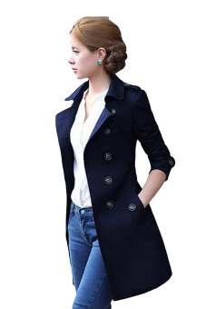 Harga Sendoomin FY13833 Korean Spring Slim Mid Length Trench Coat (Dark Blue)
