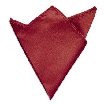 Harga New 1PC Men Satin Square Soild Blazer Pocket Handkerchief Wedding Party Favor(Wine Red)