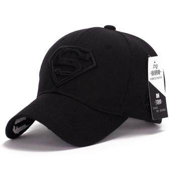 Harga Korean new sun hat male ladies couple Superman baseball cap fashion golf hat(Black)