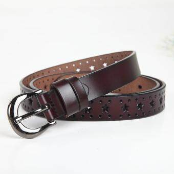 Harga Ladies leather belt leather pure Retro Leather Belt Buckle Belt