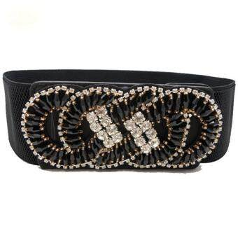 Harga Women Fashion Vintage Wide Waistband Strap Crystal Elastic Waist Belt Cincher Corset
