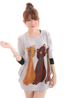 Harga LuvClo (Fit M~3XL) Cat Printed Long Sleeves Premium Loose Top (Light Grey)