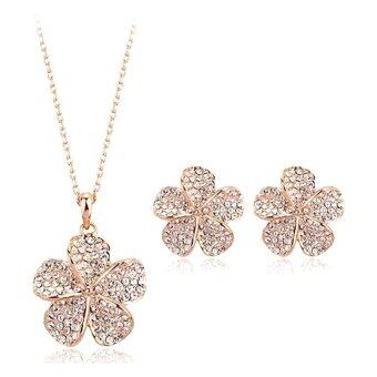 Harga MuWo Trendz Swarovski Element Nature Collection Necklace and Earring Set - 5-Leaf Clover Gold