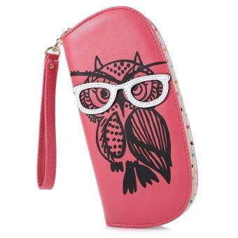 Harga Nicole Bonnie PU Leather Cute Owl Women Zipper Wallet Purse Card Holder (Watermelon Red)