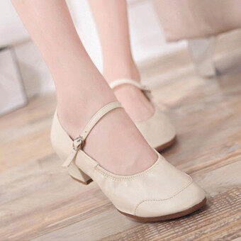 Harga LCFU764 New Style Companionship Square Dance Dancing Shoes-beige