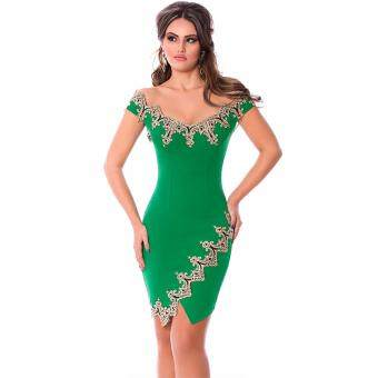 Harga Gold Lace Applique Green Off Shoulder Mini Dress(Green )